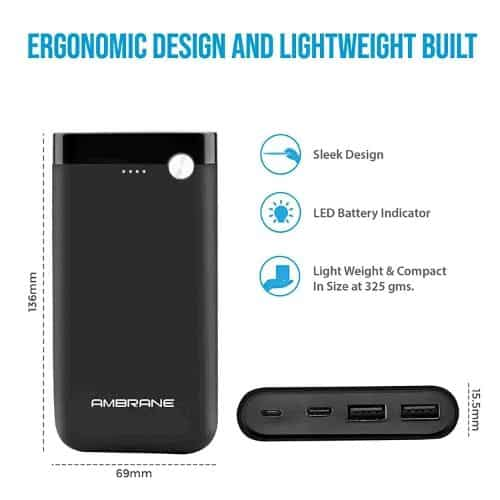 Ambrane power bank with led display in india